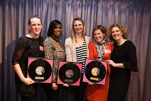 Previous winner Ellie Laycock, left, with other succesful Brand Amplifier applicants and Jeanette Pritchard