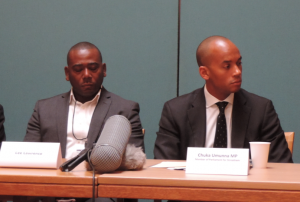 Lee Lawrence, left, with Chuka Umunna at a press conference in Wednesday today