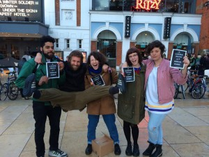 BALLOT: Campaigners outside the cinema. Picture from www.facebook.com/RitzyLivingWage