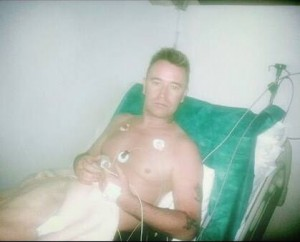 Sean in hospital in Egypt. Image courtesy of get Sean home safe appeal