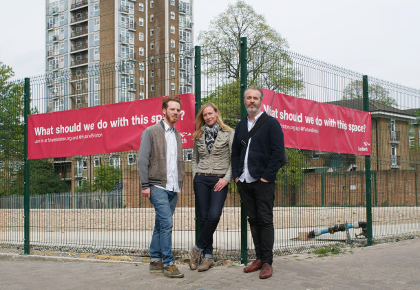 "The grow:Brixton team stand outside the space on Pope's Road that will soon be transformed into a ""green oasis"" in the heart of Brixton"