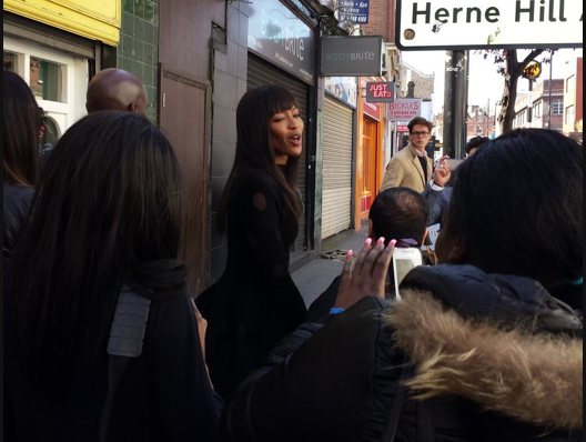 Naomi Campbell brings some added glamour to Coldharbour Lane, Brixton this afternoon. Pic by @Somewhereto_ on Twitter
