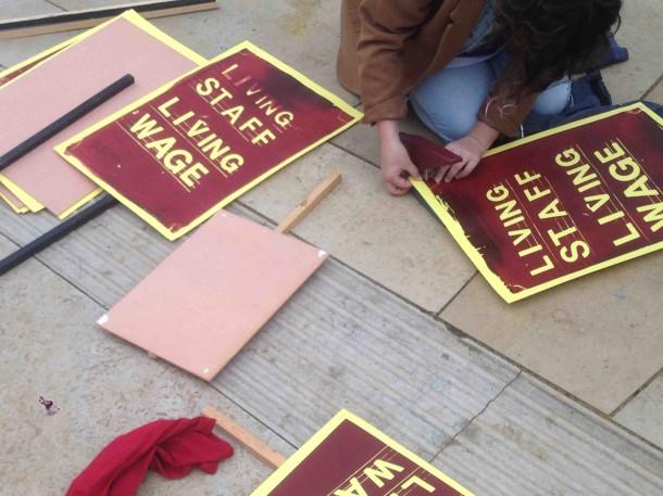 Ritzy strike placards