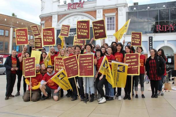 Ritzy staff in Brixton on strike in 2014