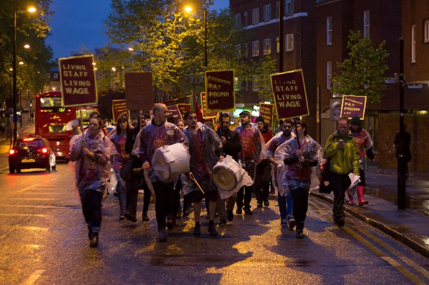 Strikers march through Brixton. Image from Ritzy Living Wage Facebook page