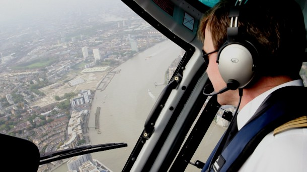 Flying above London