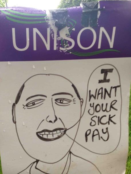 College strike placard