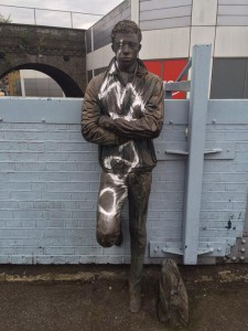 ENDLESS COMMUTE: The bronze statue at Brixton Station this morning