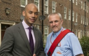 Chuka Umunna doing the rounds with Streatham postman Clive Penfold in 2012