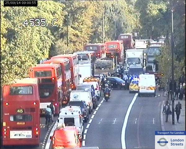 Brixton Road was brought to a standstill this morning. Picture: TfL