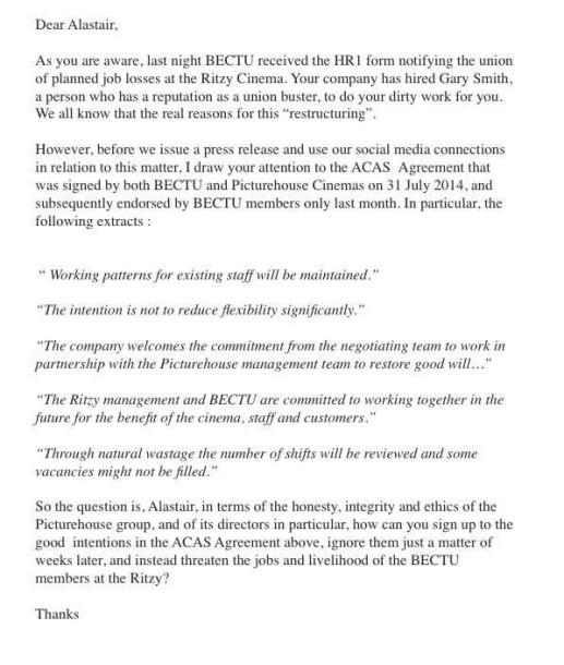 BECTU letter to Alistair Oatey
