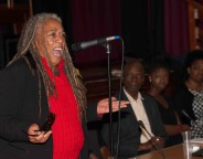 Jean Binta Breeze MBE performs at launch of Time to Change Campaign in Lambeth on World Mental Health Day small