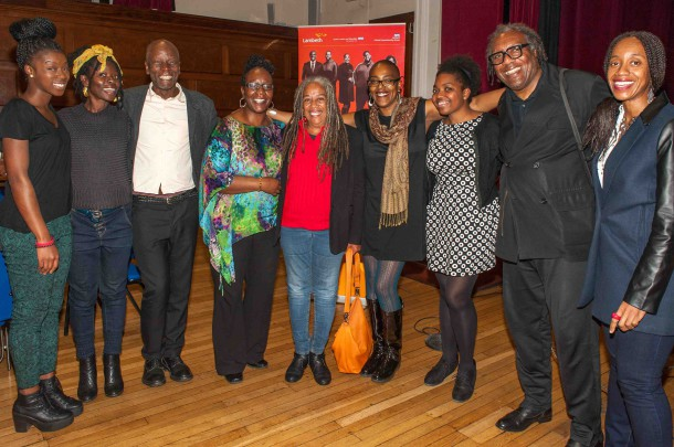 Sandra Griffiths, Jean Binta Breeze and Lambeth Cllr Jacqui Dyer with panellists and campaign partners