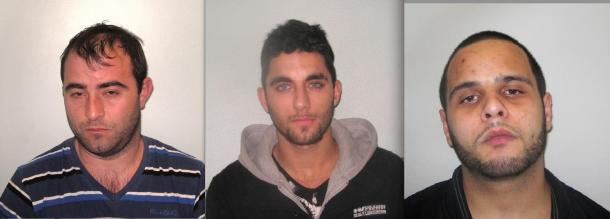Jailed: From left, Carlos Pereira, Victor Silva and Antonio Ferreira.