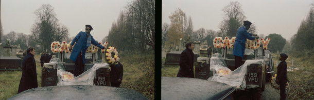 Photograph by Charlie Phillips. Clinton at Cassidy's funeral, Kensal Rise, 1972. Cassidy was a mechanic and hje loved Land Rover cars. His dying wish was that he go to his funeral in a Land Rover.
