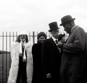 Photograph by Charlie Phillips. Parachute and Esther at Gallarue's funeral, Nunhead.