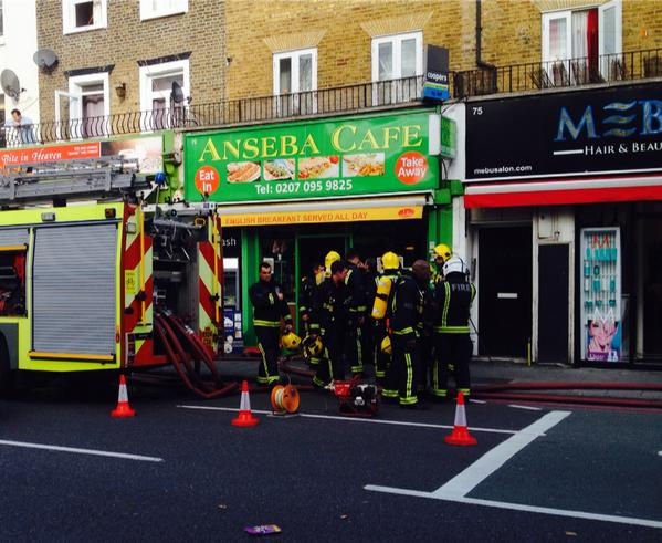 Fire swept through the cafe in Stockwell Road  this afternoon. Picture by Peter Brown @petbro1