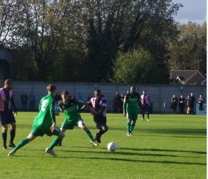 Dulwich Hamlet players in action at Champion Hill   (Credit: Sandra Brobbey)
