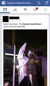 Simon Tickner in black face with a black member of staff dressed as a Klu Klux Klan member. Pic: Facebook