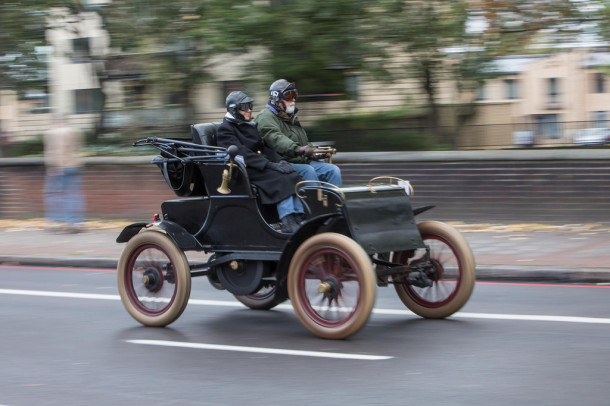 A vintage motor makes its way up Brixton Hill on Sunday as part of the Bonhams London to Brighton Veteran Car Run