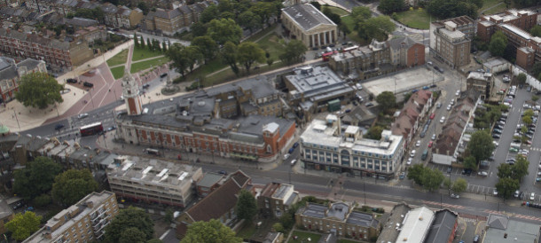 The plans include most of the buildings within the triangle above. Pic: Future Brixton