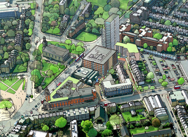 Artusts impression of the new Town Hall site - showing the tall tower block on Brixton Hill