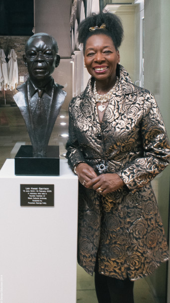 Baroness Floella Benjamin, bust of Len Garrison by artist George 'Fowokan' Kelly