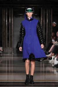 Andrea's winning cobolt blue coat on the catwalk