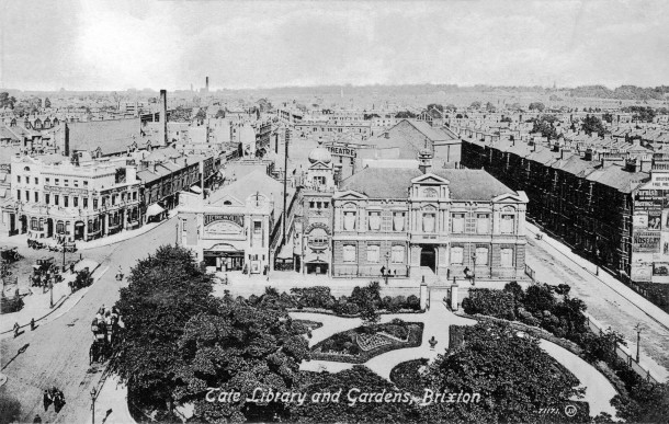 Aerial shot Ritzy during the Electric Pavilion days, Tate Gardens in foreground