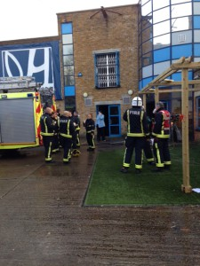 London Fire Brigade attends the fire at Ovalhouse Theatre
