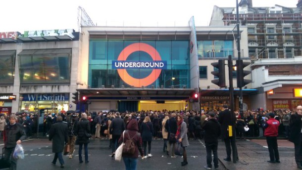 Queues outside Brixton Tube this morning. Credit: Sam Lipscomb