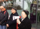 Liz Lawrence President of UCU (far right) at the picket line earlier this month