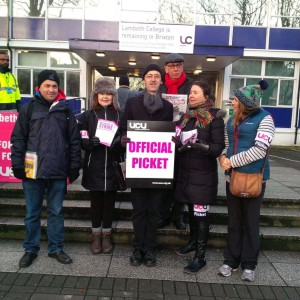 Striking union staff outside Lambeth College today
