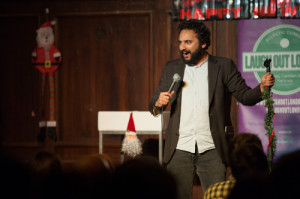 Nish Kumar performs at the Laugh Out Loud Christmas gig