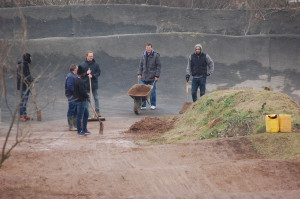 Club members clearing the BMX track at Rockwell Park.