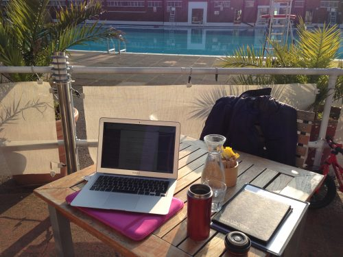 Shelley Silas writer's desk at Brockwell Lido