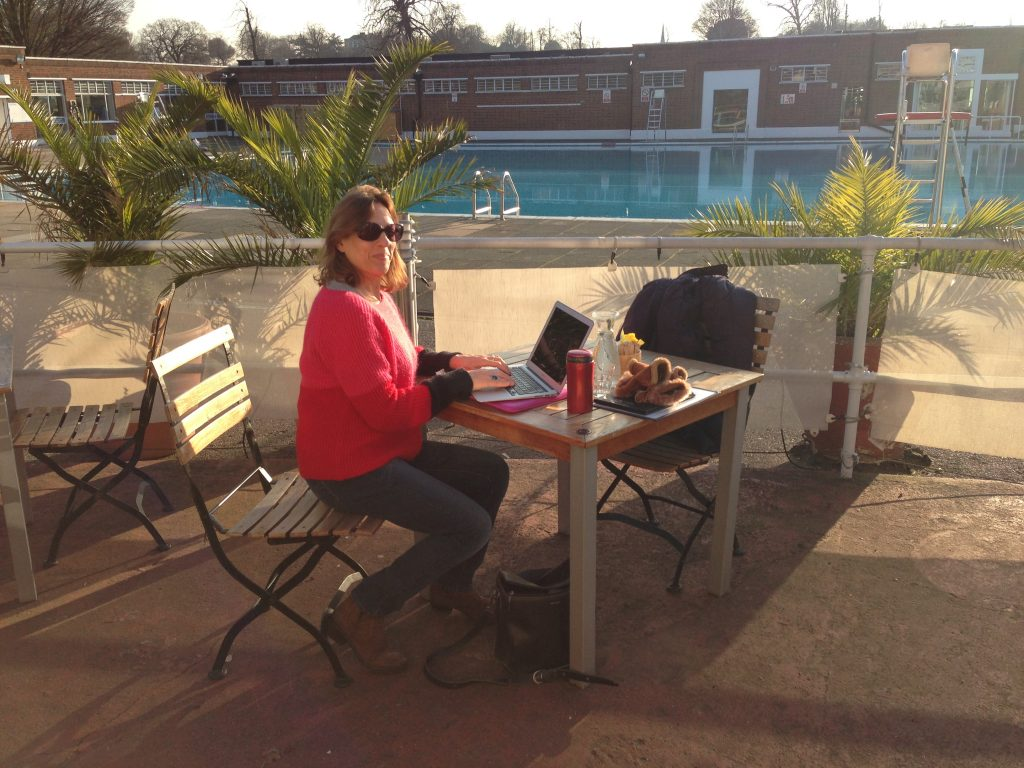 Shelley Silas sits by Brockwell Lido in Brixton