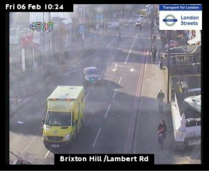 TfL jam cam captures ambulance and road closure on Brixton Hill