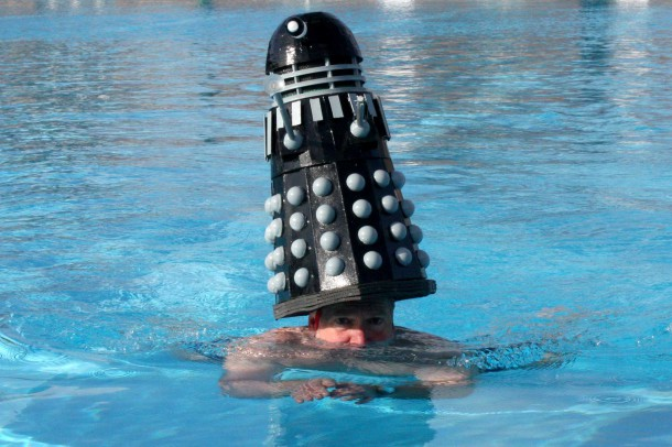 EXTERMINATE: Clive Broadbent wears  dalek hat in a plan to exterminate the opposition. Clive is swimming the channel later this year.
