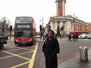 Cllr Jennifer Brathwaite on Brixton Road - one of the most polluted streets in London
