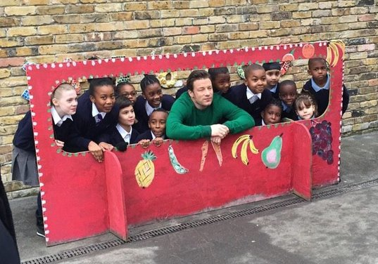 Jamie Oliver with children from Christ Church Primary School in Brixton