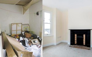 Left: after the evictions. Right: after the refurbishment