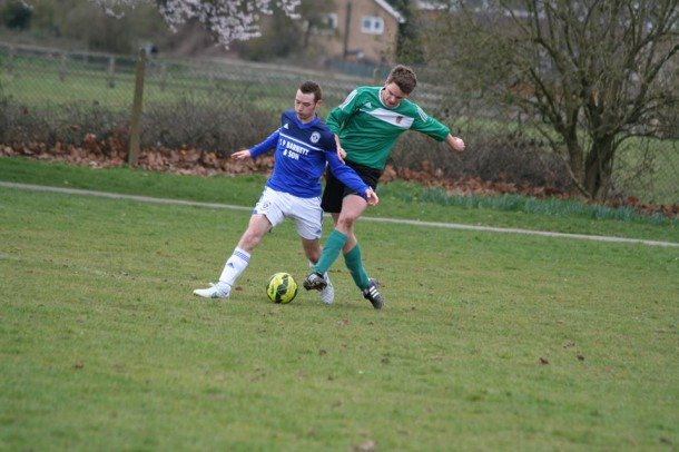 George Dalman (pictured to the right) in against Wimbledon Town (Photo: Clare Barnett)