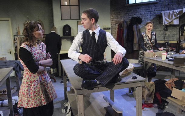 From left: Alexis Caley, James El-Sharawy as Maurice and Abigail Thaw in The Cutting of the Cloth. Credit: Philip Gammon