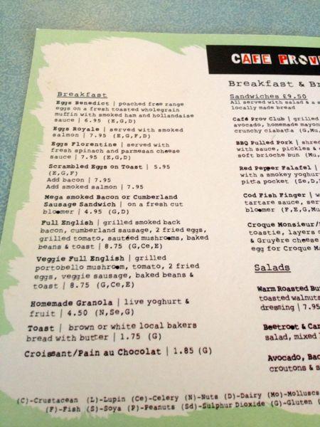 Cafe P menu