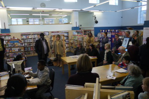 Kate Hoey MP and former Vassall ward councillor Kingsley Abrahams speaking to the friends of Minet Library