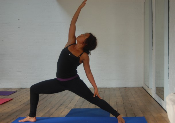 Nina Touissaint-White leading a YogaSaint class at the Synchronicity Studios (Brixton Blog photo)