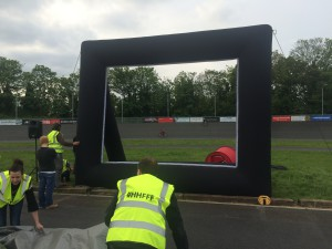 Setting up at Herne Hill Velodrome. Photo by HH Film Festival volunteers