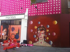 The David Bowie mural after the ProperCorn advertising that covered it was removed