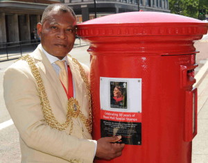 Mayor of Lambeth Donatus Anyanwu at the unveiling of the plaque honouring Mary Seacole